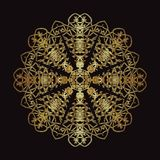 Złoto koronki wzór na czarnym tle Zdjęcie Royalty Free