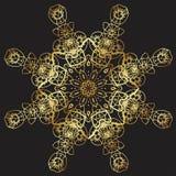 Złoto koronki wzór na czarnym tle Fotografia Stock
