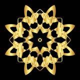 Złoto koronki wzór na czarnym tle Zdjęcia Stock