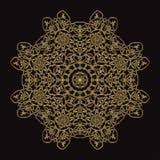 Złoto koronki wzór na czarnym tle Zdjęcie Stock