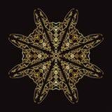 Złoto koronki wzór na czarnym tle Fotografia Royalty Free
