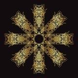 Złoto koronki wzór na czarnym tle Obrazy Stock
