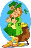 złoto leprechaun jego garnek Fotografia Royalty Free