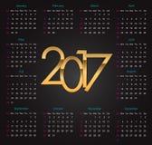 Złoto 2017 luksusowych editable kalendarzy na czarnym tle Fotografia Royalty Free