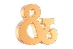 Złoty ampersand symbol, 3D rendering ilustracji