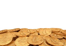 Złoty bitcoin, 3D rendering Obrazy Royalty Free