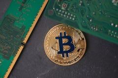 Złoty bitcoin lying on the beach na kamiennej powierzchni Fotografia Royalty Free