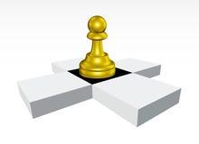 złoty chessboard pionek Zdjęcia Stock