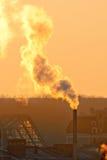 Złoty dym od kominu Fotografia Stock