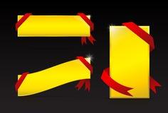 Złoty etykietki i czerwieni faborku sztandar Obrazy Stock