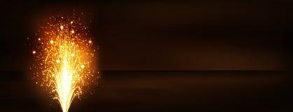 Złoty fajerwerku wulkanu fontanny panoramy sztandar - nowy rok wigilia royalty ilustracja