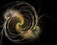 Złoty fractal zawijas na czarnym tle Fotografia Stock