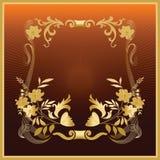 złoty froral ramowy Zdjęcia Royalty Free