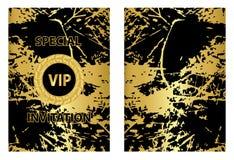 Złoty Grunge zaproszenia szablon Fotografia Stock