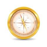 Złoty kompas. Obrazy Royalty Free