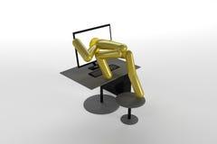 złoty komputer osobisty Obrazy Stock