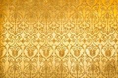 Złoty kwiecistego ornamentu tkaniny altembasowy wzór Zdjęcia Royalty Free