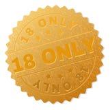 Złoty 18 medalu znaczek TYLKO Fotografia Stock