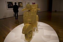 Złoty motocykl grafiki muzeum Zdjęcia Stock