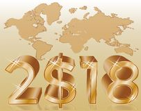 Złoty nowy 2018 dolarów rok, wektor Zdjęcie Royalty Free