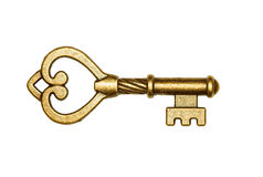 złoty odosobniony kluczowy biel Zdjęcia Stock
