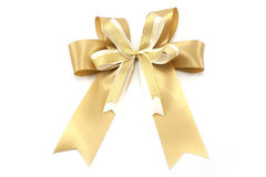 złoty odosobniony tasiemkowy biel Fotografia Royalty Free