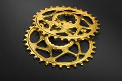 Złoty owalny rowerowy chainring Fotografia Royalty Free