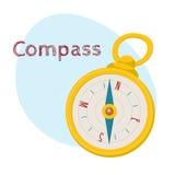 Złoty retro stylowy nawigacyjny kompas, odosobniona kreskówka wektoru ilustracja Zdjęcia Royalty Free