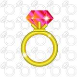 Złoty ringowy rubin Obraz Royalty Free