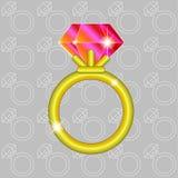 Złoty ringowy rubin Obrazy Stock