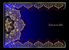Złoty rocznika kartka z pozdrowieniami na czarnym tle Luksusowy ornamentu szablon Wielki dla zaproszenia, ulotka, menu, broszurka Zdjęcia Stock