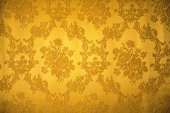 Złoty rocznika ornamentu tkaniny wzór Obraz Stock