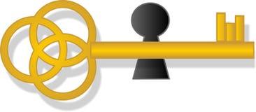 Złoty stary klucz Fotografia Stock