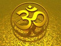 Złoty symbol - om podpisuje Fotografia Stock