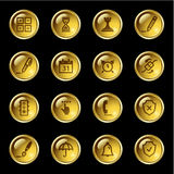 złoty transmisyjnego ikony oprogramowania Zdjęcia Stock