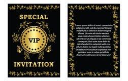 Złoty VIP zaproszenia szablon Fotografia Stock