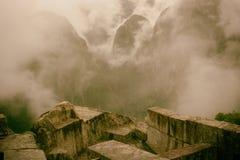 Złoty widok Andes od MAchu Picchu ruin Zdjęcie Stock
