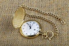 złoty zegarek kieszonkowy Fotografia Royalty Free