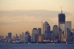 Złoty zmierzch w Manhattan Zdjęcia Royalty Free