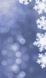 Z płatek śniegu bokeh błękitny tło Zdjęcia Stock