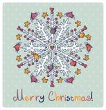 Z płatek śniegu wesoło Kartka bożonarodzeniowa Obrazy Stock