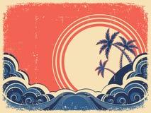 Z palmami tropikalna wyspa ilustracja wektor