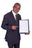 Z panelem czarny biznesmen Fotografia Royalty Free