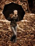 Z parasolem piękna dziewczyna Obraz Royalty Free