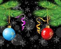 Z piłkami świąteczny Bożenarodzeniowy tło Fotografia Stock