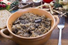 Z pieczarkami tradycyjny polerujący sauerkraut Zdjęcie Royalty Free