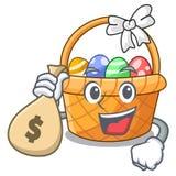 Z pieniądze torby Easter koszykową piłką w kreskówka kształcie royalty ilustracja