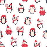 Z pingwinami bezszwowy wzór Zdjęcia Stock