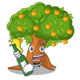 Z piwnej kreskówki pomarańczowym drzewem w jardzie ilustracja wektor