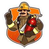 Z pożarniczym gasidłem Zdjęcie Royalty Free